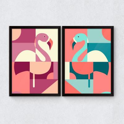 Conjunto de Quadros Decorativos Flamingos Abstratos Coloridos