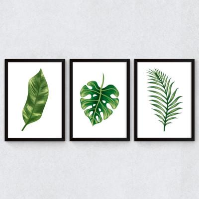 Conjunto de Quadros Decorativos Folhagem Tropical