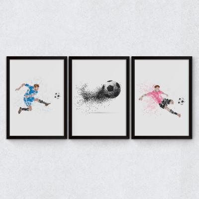 Conjunto de Quadros Decorativos Futebol Bolhas