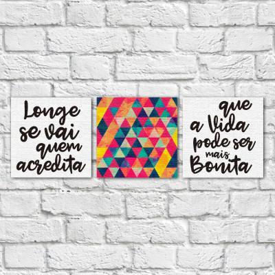 """Conjunto de Quadros Decorativos """"Longe se Vai"""" - Em Canvas"""