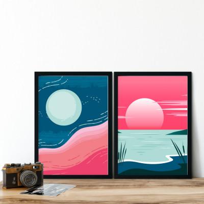 Conjunto de Quadros Decorativos Abstração Por do Sol