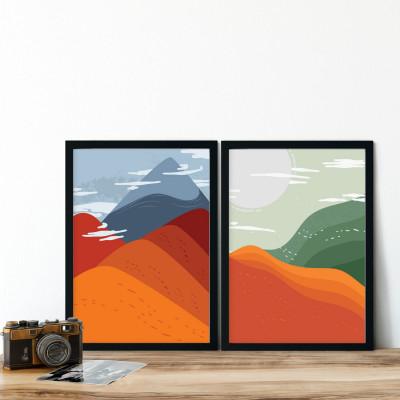 Conjunto de Quadros Decorativos Abstração Montanhas Coloridas