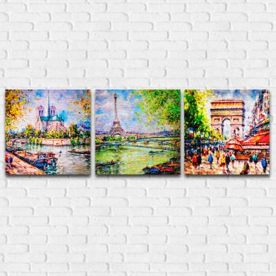 Conjunto de Quadros Decorativos Paris - Em Canvas