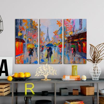 Conjunto de Quadros Decorativos Torre Eiffel Paris - Em Canvas