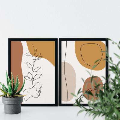 Conjunto de Quadros Decorativos Face Botânica Arte Moderna