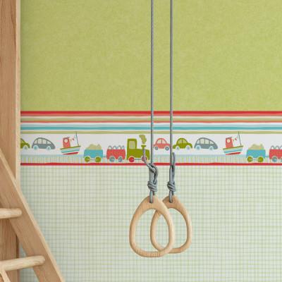 Faixa Decorativa Infantil Trenzinho e Carros - Vermelho - Nido - Rolo com 5 Metros