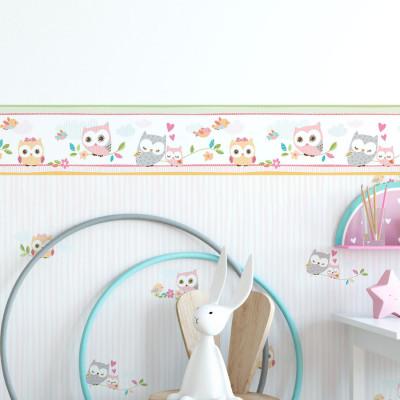 Faixa Decorativa Infantil Corujas - Nido - Rolo com 5 Metros