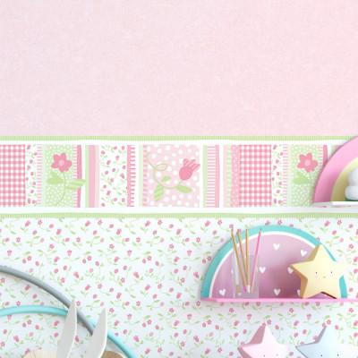 Faixa Decorativa Infantil Floral Delicado - Nido - Rolo com 5 Metros