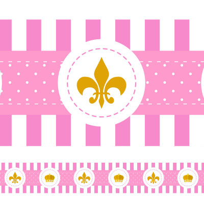 Faixa Decorativa Coroa e Flor de Lis - Rosa