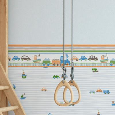 Faixa Decorativa Infantil Trenzinho e Carros - Nido - Rolo com 5 Metros