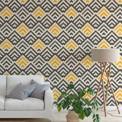 Papel de Parede Abstrato Geométrico Amarelo e Preto