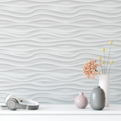Papel De Parede 3D Ondas Branco