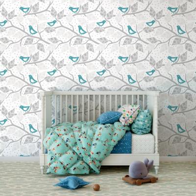 Papel de Parede Galhos Folhas e Pássaros (Azul Turquesa)