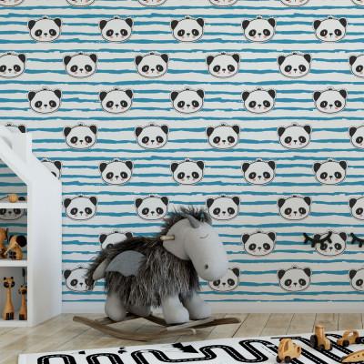 Papel de Parede Infantil Panda (Azul)