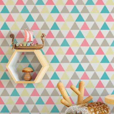 Papel De Parede Triângulos Azul, Rosa, Amarelo e Cinza