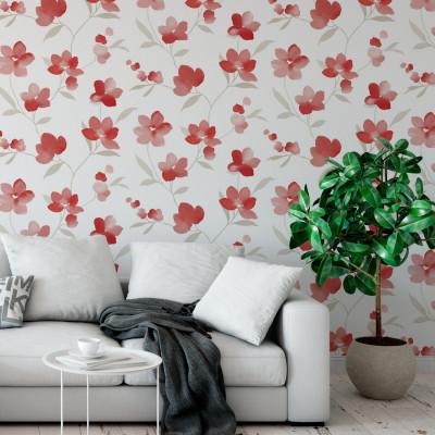 Papel de Parede Floral Aquarela - Flor Vermelha - Rolo com 10 Metros