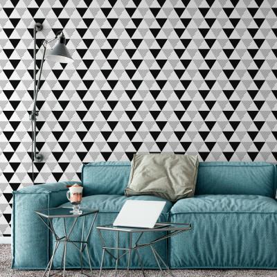 Papel de Parede Triângulos Abstratos (Preto e Branco)