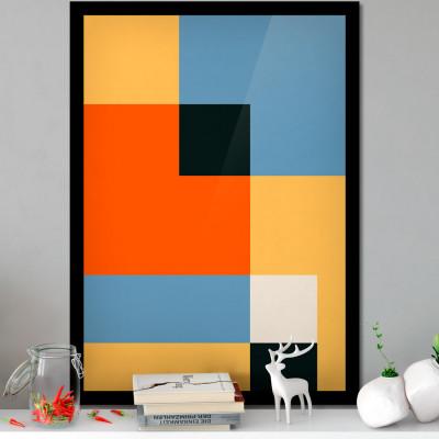 Quadro Decorativo Com Moldura e Imagem Geométrico (Preto e Bege)