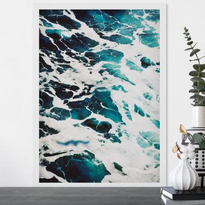 Quadro Decorativo de Parede com Imagem de Ondas do Mar