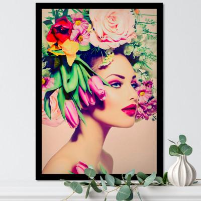 Quadro Decorativo com Mulher Cabelo Flores