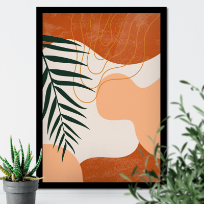 Quadro Decorativo Abstrato com Folhas