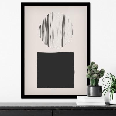 Quadro Decorativo com Moldura com Circulo e Linhas Geométricas