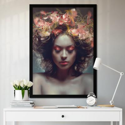 Quadro Decorativo de Mulher com Flores na Cabeça