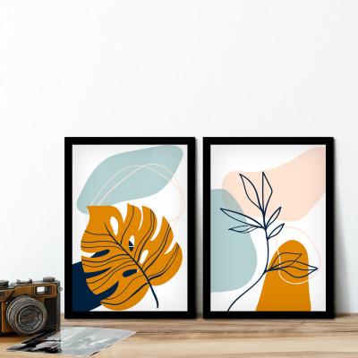 Conjunto de Quadros Decorativos Folhas Formas Cores