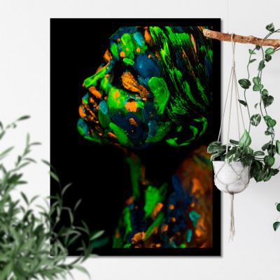 Quadro Decorativo de Parede com Aquarela Mulher Flores