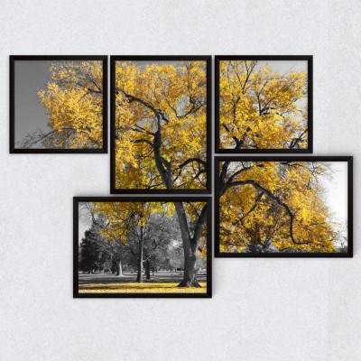 Conjunto de Quadros Decorativos Árvore Amarela