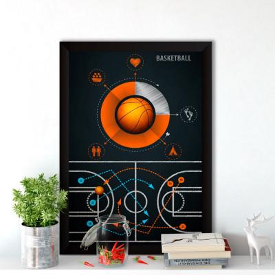 Quadro Decorativo Plano de Jogo Basquetebol