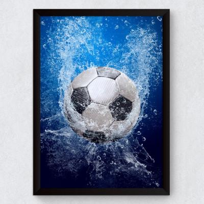 Quadro Decorativo Bola de Futebol na Água