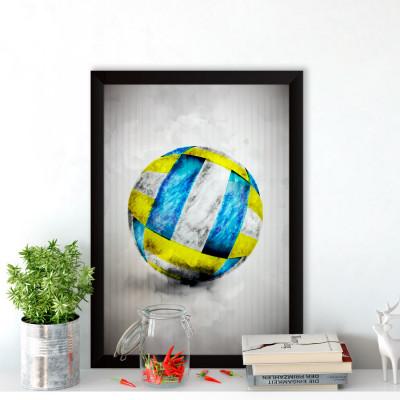 Quadro Decorativo Bola de Voleibol Aquarela