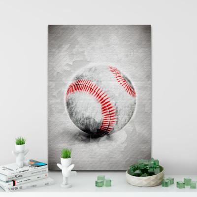 Quadro Decorativo Bola Beisebol Aquarela - Em Canvas