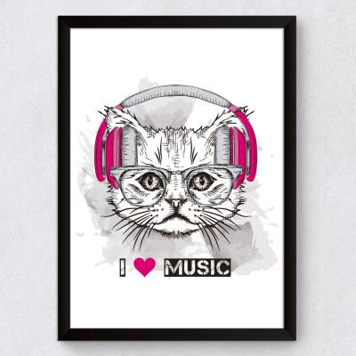 Quadro Decorativo Cat I Love Music