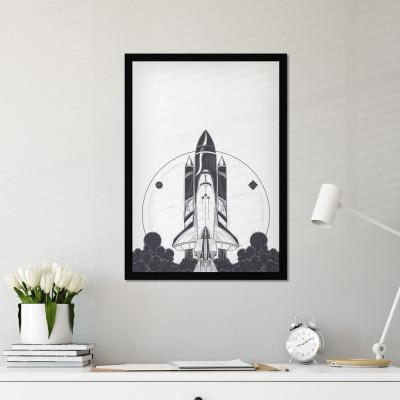 Quadro Decorativo Foguete Espacial