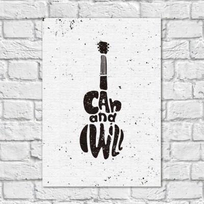 Quadro Decorativo Guitarra I Can and Wiill - Em Canvas