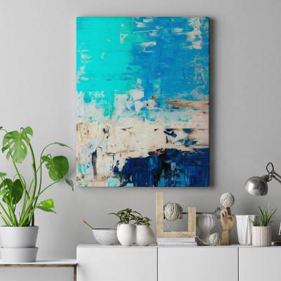 Quadro Decorativo Pintura Abstrata Azul - Em Canvas