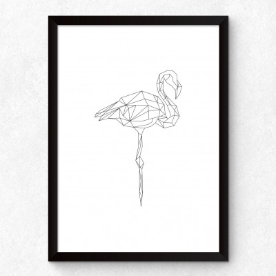 Quadro Decorativo Flamingo Minimalista