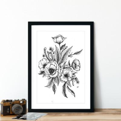 Quadro Decorativo Desenho Flores