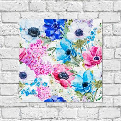 Quadro Decorativo Estampa Floral Azul - Em Canvas