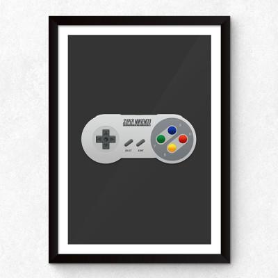 Quadro Decorativo Controle de Super Nintendo