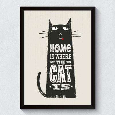 """Quadro Decorativo """"Home is Where The Cat Is"""""""