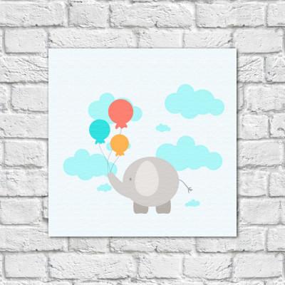 Quadro Decorativo Infantil Elefante e Nuvens - Em Canvas