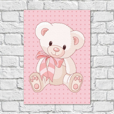 Quadro Decorativo Infantil Urso Menina