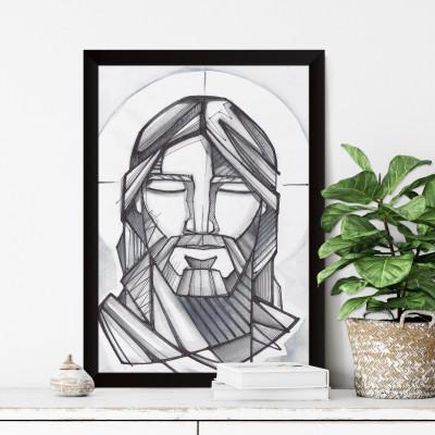 Quadro Decorativo Jesus Cristo a Lápis