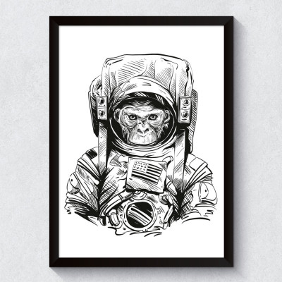 Quadro Decorativo Macaco Astronauta
