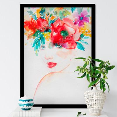 Quadro Decorativo com Moldura e Imagem de Mulher Penteado Flores