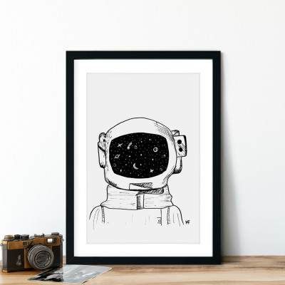 Quadro Decorativo Astronauta Galáxia