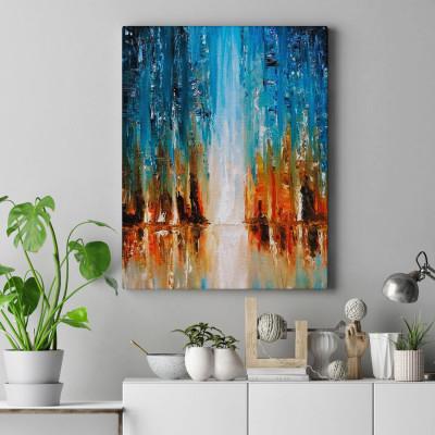Quadro Decorativo Pintura Abstrata Cachoeira - Em Canvas